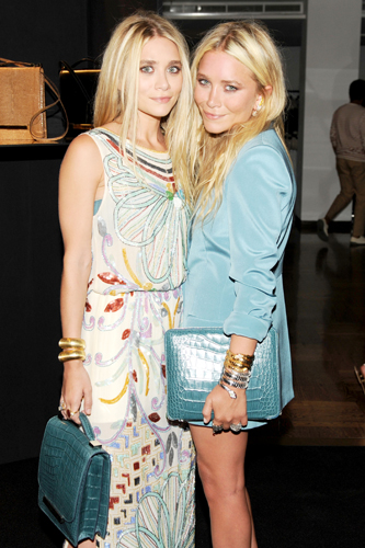 Mary-Kate and Ashley Olsen with the Row bags
