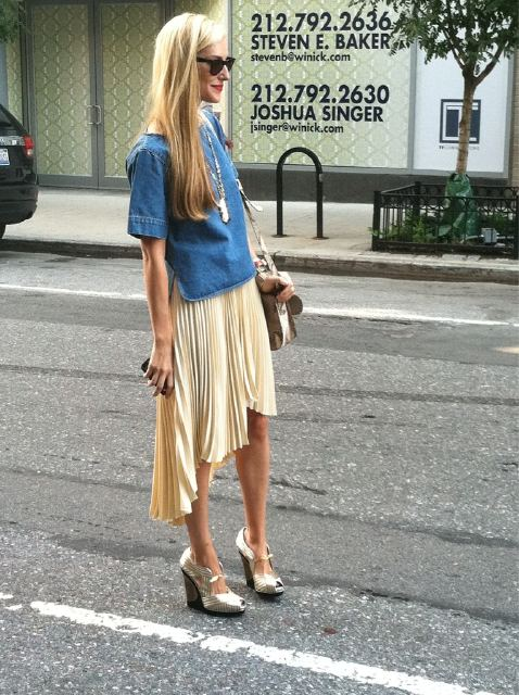 Joanna Hillman outside The Row during the New York Fashion Week