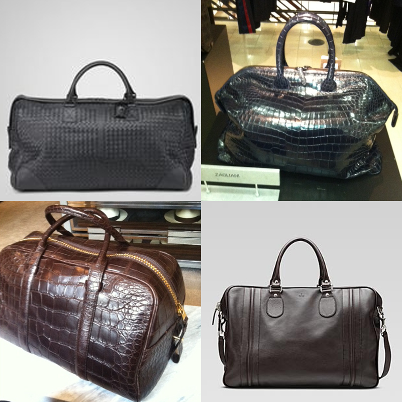 Men's Bags : Bottega Woven Duffle, Zaglliana Croc Overnight Bag, Tom Ford Croc Duffle, Gucci Carry-On