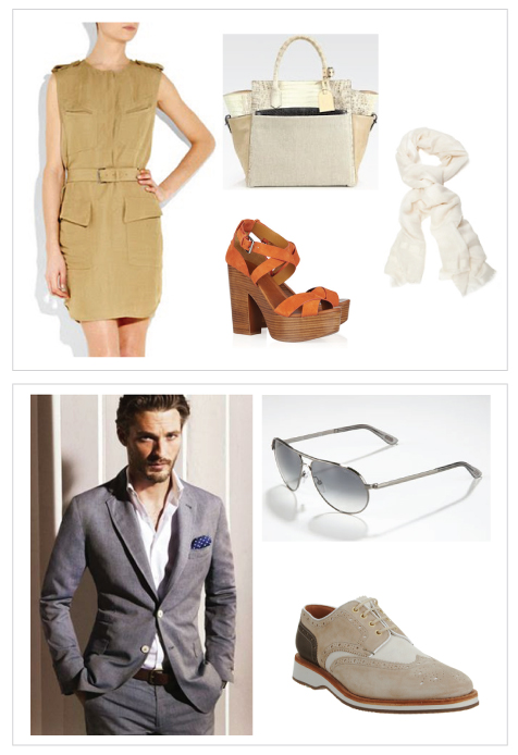 3.1 Phillip Lim Dress, Linen Scarf, Reed Krakoff Tote, Ralph Lauren Sandals, Grey Cotton Suit, Tom Ford Sunglasses, Heschung Shoes