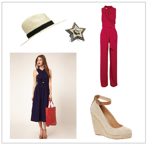 Straw Hat, Light Weight Dress, Lanvin Crystal Star Ring, Catherine Malandrino Jumpsuit, Neutral Espadrilles