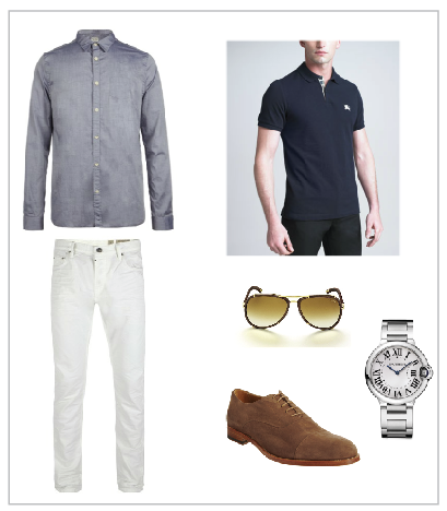 All Saints Linen Shirt and Jeans, Burberry Polo, Tom Ford Sunglasses, Barneys Cap Toe Shoe, Cartier Watch
