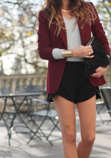 Street Style Burgundy Jacket