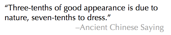 Ancient Chinese Proverb about dressing