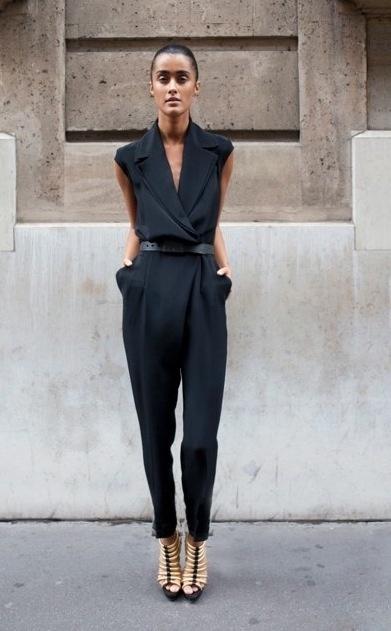 Street Style Black Jumpsuit via www.agiftwrappedlife.tumblr.com