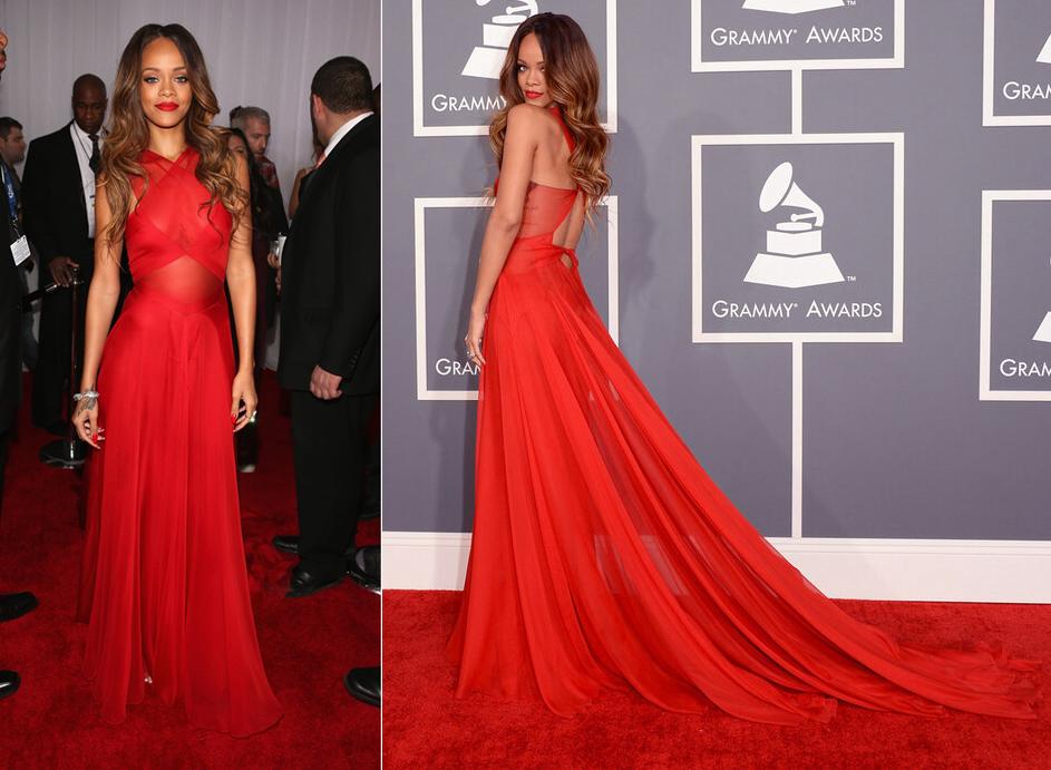 Red Azzedine Alaia Dress Rihanna in Azzedine Alaia
