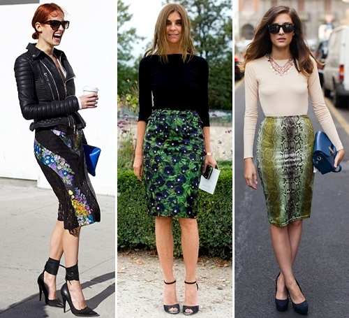Printed pencil skirt street style