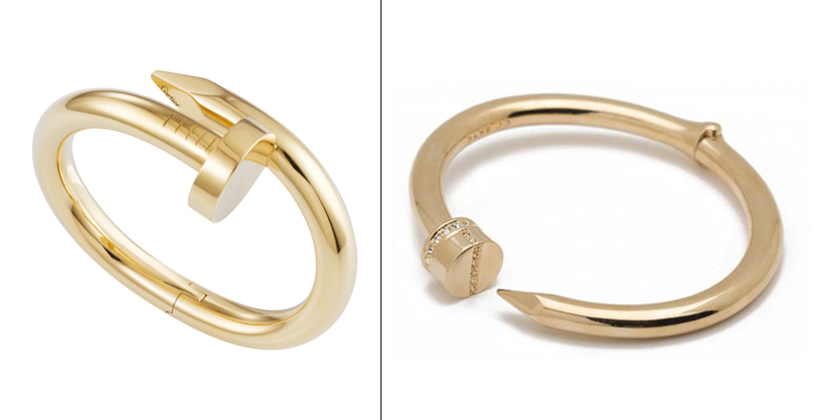 Left: Cartier Juste un Clou Bracelet, $36500 | Right: CC SKYE Hinge Nail Bangle, $195