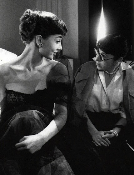Edith Head working with Audrey Hepburn