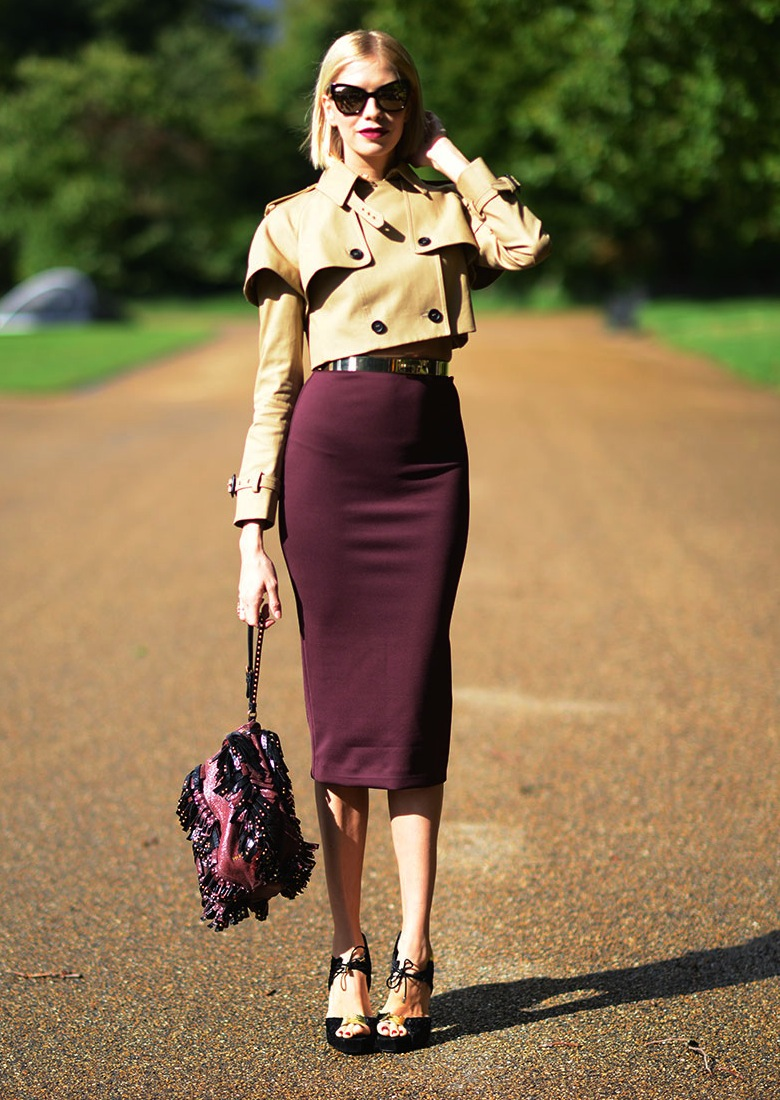 Elena Perminova in Burberry at London Fashion Week