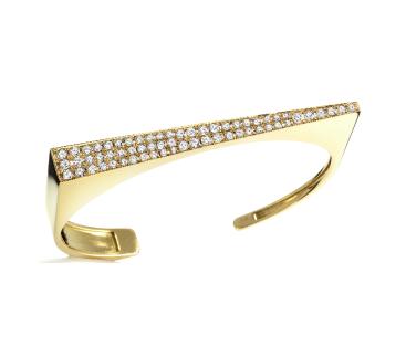 18K Yellow Gold & Diamond Angle Bracelet