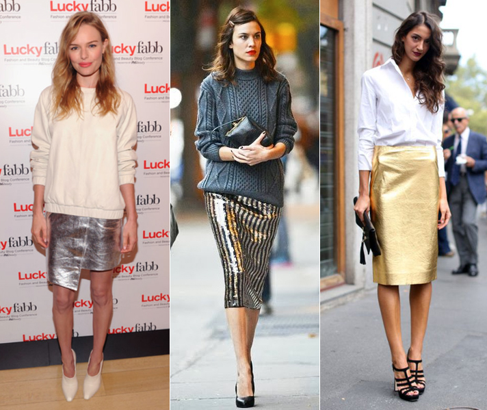 Metallic Skirts: Kate Bosworth, Alexa Chung and Street Style via FabSugar