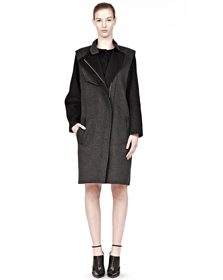 alexander wang grey zip front coat