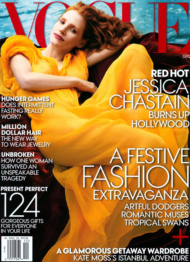 Jessica Chastain on the cover of Vogue December 2013