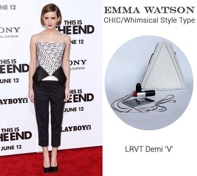 Emma Watson in Roland Mouret + LRVT Demi 'V' Luxury Python Clutch