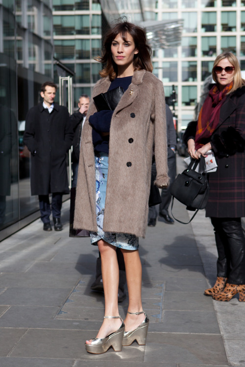 Alexa Chung's chic street style with disco platforms