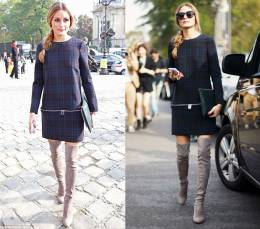 Olivia Palermo PLaid Dress OVer The Knee Boots