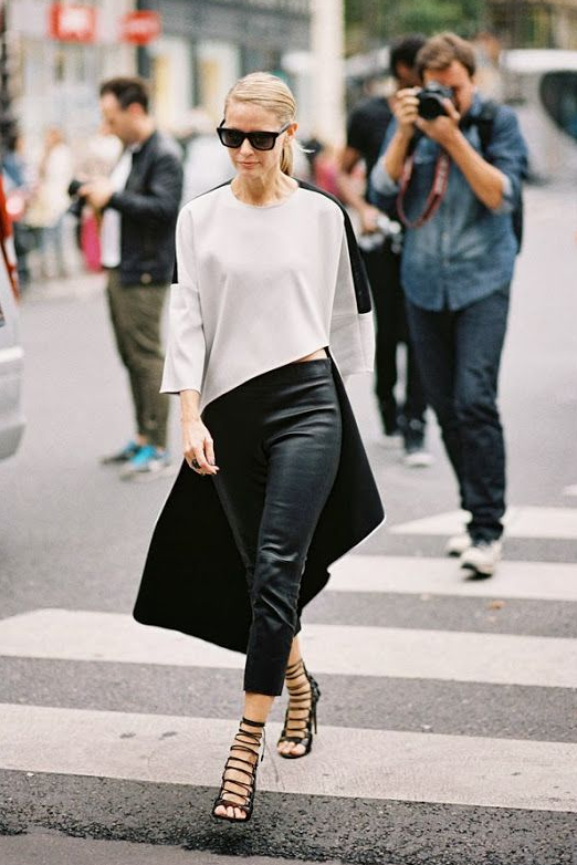 Leather pants street style black & white
