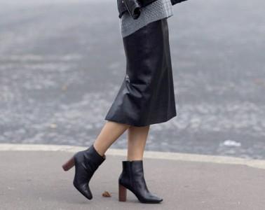 Block-Heels- street style leather skirt
