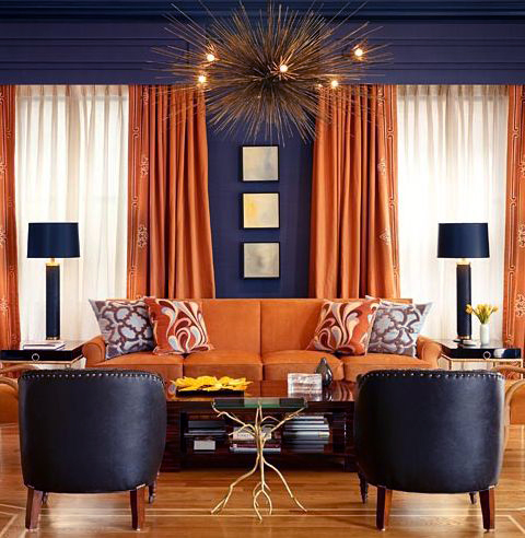 orange curtains and upholstery against dark grey walls is an excellent pairing that reads both. Black Bedroom Furniture Sets. Home Design Ideas